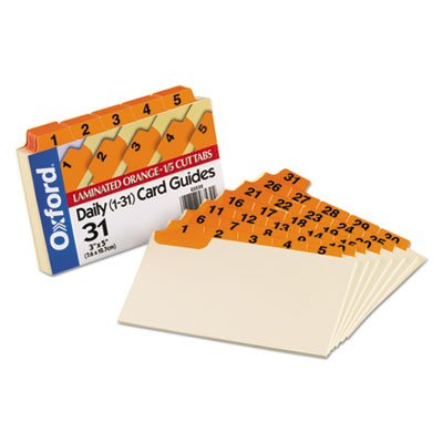 Oxford 03532 Laminated Index Card Guides, Daily, 1/5 Tab, Manila, 3 x 5, 31/Set