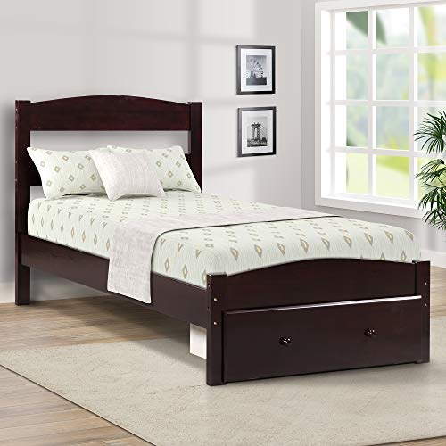 (Merax Platform Wood Bed Frame Twin with Storage and Headboard, Solid Wood Single Bed Frame with Drawer, Espresso Finish)