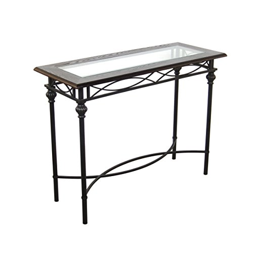 208 Fryar Design Dark Bronze Console Table with Mahogany Wood Top and Glass Insert, 40