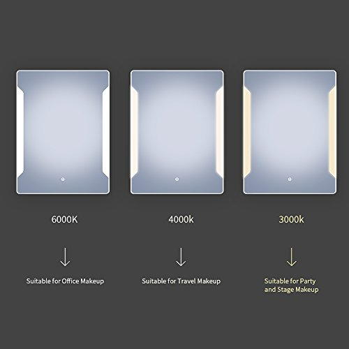 Stamo Vanity Bathroom Silvered Anti-Fog Mirror LED Lighted with Touch Button Vertical Bathroom Vanity Lighted, dimmable Lighting Mirror by Stamo (Image #4)