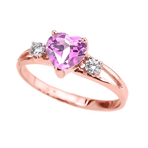 Precious 14k Rose Gold Pink CZ Heart Proposal/Promise Ring with White Topaz (Size 5)