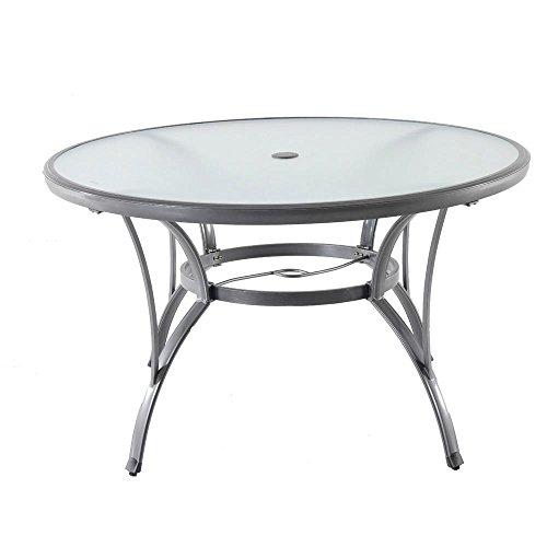 Hampton Bay Commercial Grade Aluminum Grey Round Glass Outdo