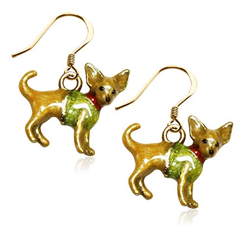 Chihuahua Dog Charm Earrings in Gold (Chihuahua, Gold)