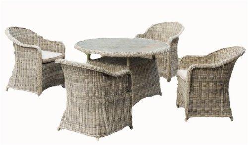 Hochwertige Garten Tischgruppe, Tisch + 4 Sessel, inkl. Auflagen, Poly-Rattan sandfarbig