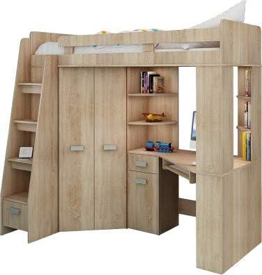 Cama alta con escalera a la izquierda, mueble de almacenaje, estantes y escritorio en la parte inferior, juego de muebles infantil - - - -: Amazon.es: Hogar