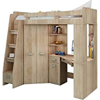 High Sleeper/Bunk Bed/Entresole. ALL IN ONE. Left Hand-side Stairs. Kids/Children Furniture Set. Bed, Wardrobe, Shelves, Desk