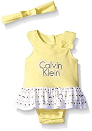 Calvin Klein Baby Girls\' Combed Interlock Sunsuit with Headband, Yellow, 18 Months