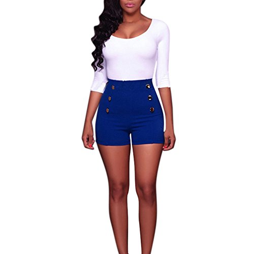 Clearance Sale!FarJing Women Shorts High Waist Sexy Solid Button Zipper Shorts Hot Pants(S,Blue)