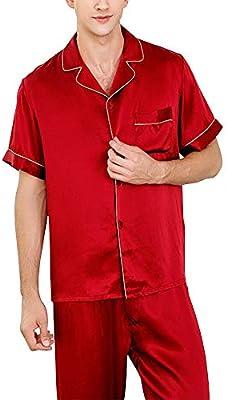 HONGNA Conjunto de Pijamas for Hombre, Camisa roja, Pantalones de Manga Corta, 2 Juegos de 100% Tejido de Seda, Traje Casual de Servicio en el hogar (Color : Red, Size : XXL): Amazon.es: Hogar