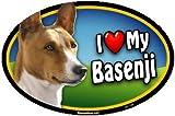 Oval Car Magnet - I Love My Basenji