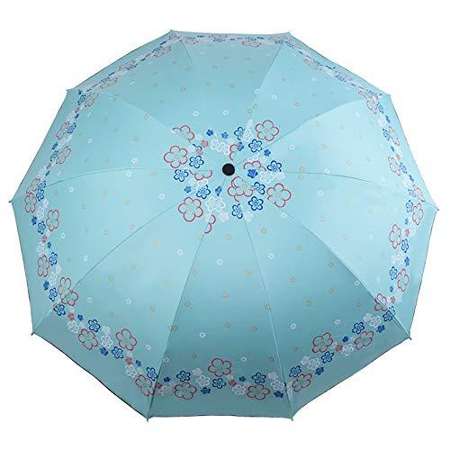 Rain Gear Outdoor Functional Portable Rainproof Travel Umbrella with 10 Reinforced Fiberglass Ribs Canopy Ergonomic Handle Windproof Sun Block Rain Guard (Color : Green, Size : Free) ()