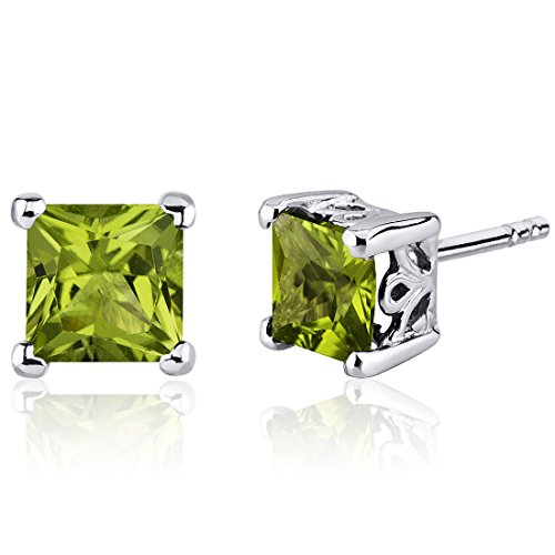 Peridot Stud Earrings Sterling Silver Princess Cut 2.00 Carats