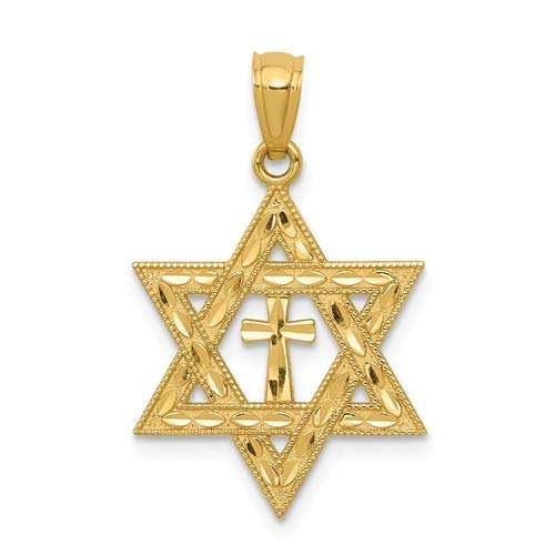 14k Yellow Gold Diamond-Cut Star Of David With Cross Pendant - Measures 16x16mm - JewelryWeb
