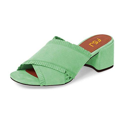 Fsj Kvinner Komfort Åpen Tå Muldyr Faux Suede Cutout Sandaler Med Frynser Lysbilde Blokk Hæler Størrelse 4-15 Oss Grønn