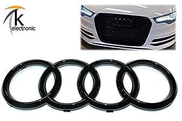 k-electronic Audi A6 S6 4 G Antes de Facelift Emblema Negro Brillante/Audi Anillos Enfriador Parrilla Frontal Delantera: Amazon.es: Coche y moto