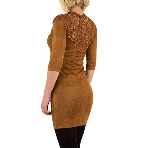Velouroptik Spitzen Mini Cocktail Kleid Für Damen , Braun In Gr. 36 bei Ital-Design
