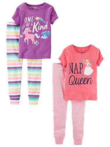 Carters Baby Girl 2 Piece (Carter's Baby Girls' 2-Pack 2 Piece Cotton Pajamas, Unicorn / Nap Queen, 18 Months)
