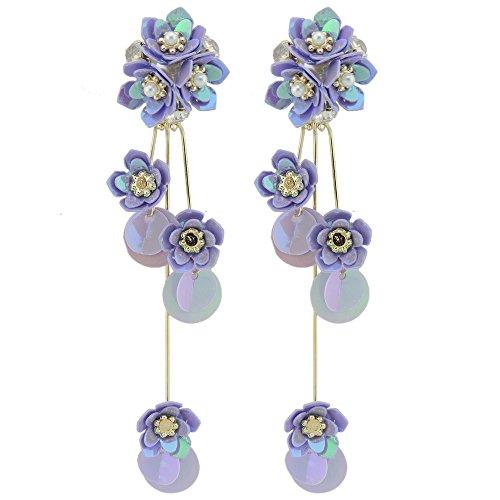 (Coiris New Elegant Sequins Flower Dangle Stud Earrings 925 Sterling Silver Pin For Women (ER1140-purple) )