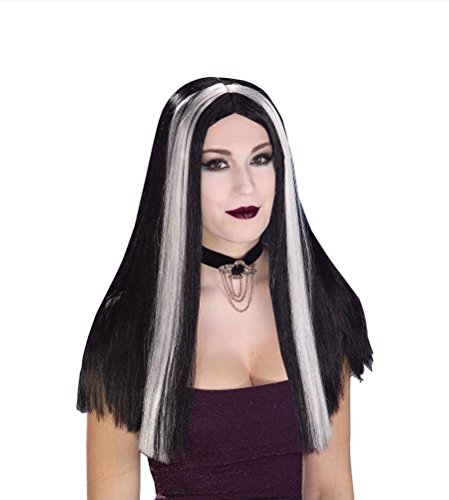 Elvira Costumes Wig (Forum Novelties Women's Long Straight Wig, Black/White, One Size)