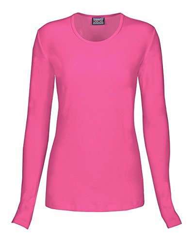 Cherokee Women's Long Sleeve Knit Underscrub Tee, Shocking Pink, Medium ()