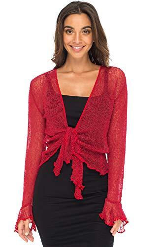 Back From Bali Womens Sheer Shrug Bolero Long Sleeves Cropped Cardigan Lite Bell Sleeves Red L/XL