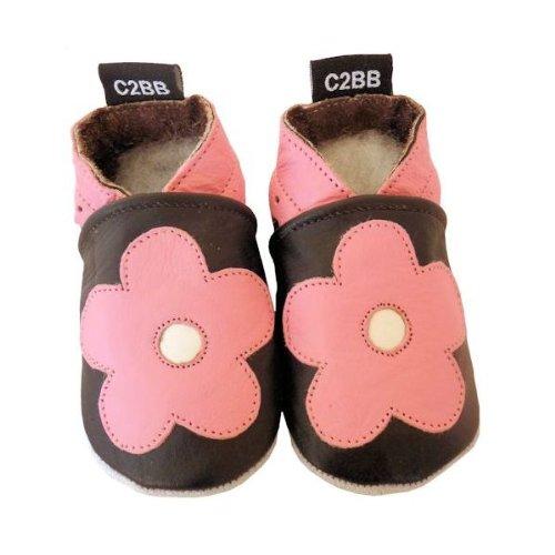 C2BB - Zapitillas de bebe de cuero suave niñas antideslizante | Hermosa flor rosa Rosa