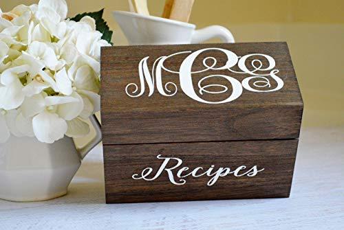 Personalized Recipe Box Custom Recipe Card Holder Kitchen and Pantry Organization Rustic Farmhouse Decor Engraved Wood Box