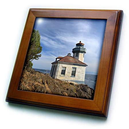 3dRose Danita Delimont - Washington - USA, Washington State, San Juan Island, Lime Kiln Point Lighthouse. - 8x8 Framed Tile (ft_315158_1)