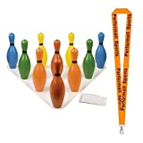 Champion Sports Multi-Color Foam Bowling Pin Set Assortesd Bundle with 1 Performall Lanyard BP10CLR-1P