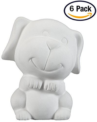 Creative Hobbies Tiny Tot Dog, Case of 6, 3.5 Inch Tall, Unfinished Ceramic Bisque, With How To Paint Your Own Pottery Booklet