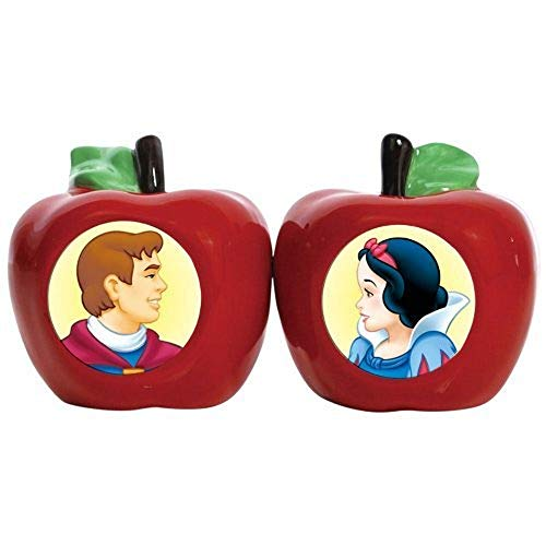Westland Giftware Ceramic Magnetic Salt and Pepper Shaker Set, Disney Snow White and Prince Charming, 2.5-Inch, Set of 2 ()