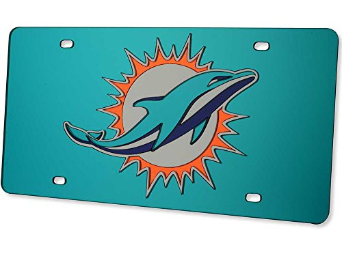 Miami Dolphins License Plate Tag in Teal