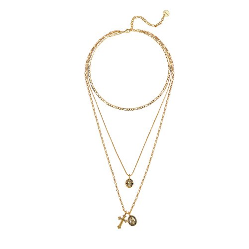 - Gold Cross Pendant Necklace 14K Gold Plated Figaro Choker Saint Medal Disc Circle Vintage Layered Necklace for Women