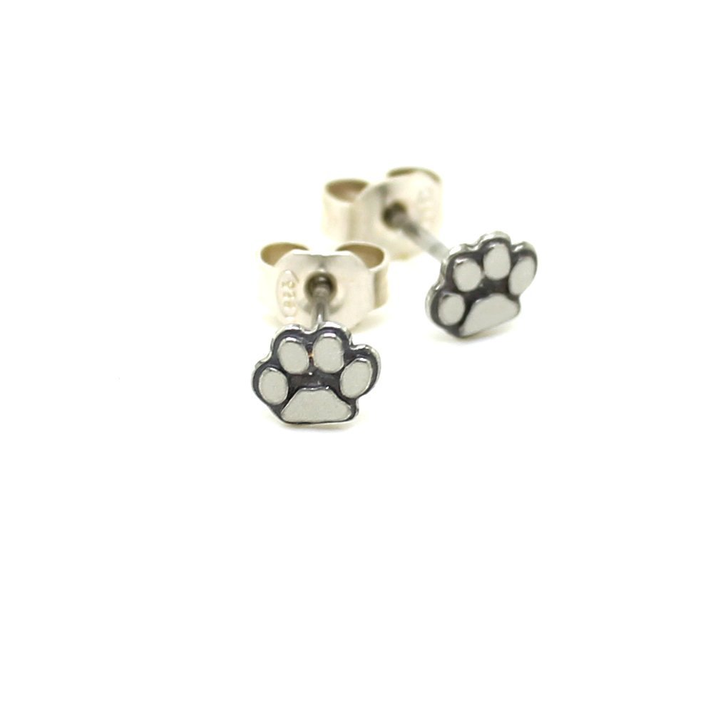 Amazon Com Tiny Silver Paw Stud Earrings Sterling Silver Cats