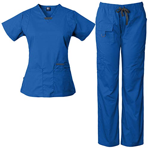Medgear Womens Scrub Set Utility 4 Pocket top, 7 Pocket 2043 Pant with D-Ring (Royal, 2XL) ()
