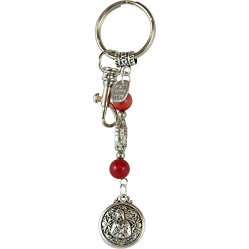 Virgin Mary Pendant Keychains for Women and Men Catholic Bag Charms Purse Accessories Coral Gemstone Catholic Gift Religious Spiritual /K200RED