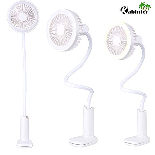 Clip Fan with Light, Table Lamp Fan, USB or 2000mAh Rechargeable Battery Powered Small LED Desk Lamp Fan Whisper Quiet with 2 Speed Swivel for Student Bed Office Baby Carriage Camping (White) ()