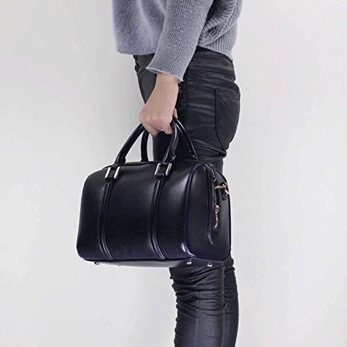 Women's Leather Boston Bag \ Pillow Bag \ Handbag \ Shoulder Bag \ Messenger Bag ( Color : Black , Size : L ) (Messenger Bag Boston)