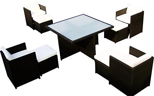 Baidani Gartenmöbel-Sets 10c00032.00001 Designer Sitz-Garnitur Emotion, 1 Tisch mit Glasplatte, 4 Stühle, 4 Hocker, Sitzauflagen, Rückenkissen, schwarz