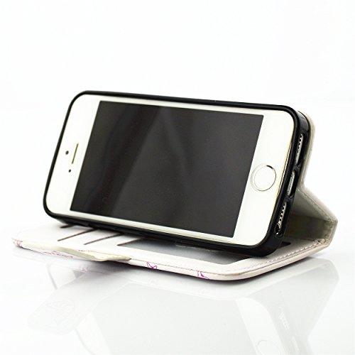 Voguecase® Pour Apple iPhone 5C Coque, Étui en cuir synthétique chic avec fonction support pratique pour Apple iPhone 5C (Carriage-diamant-Blanc et rose)de Gratuit stylet l'écran aléatoire universelle