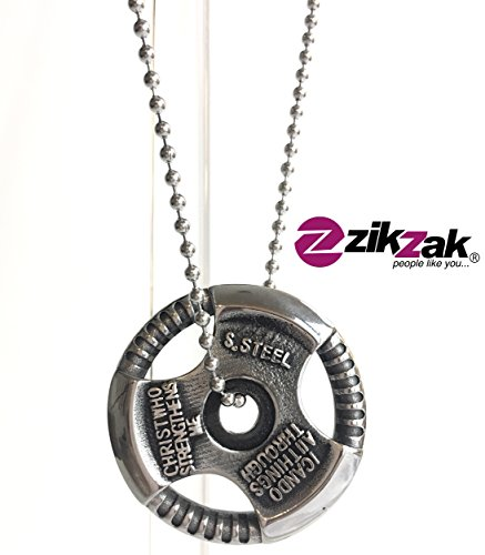 Weights & Fitness Plate Stainless Steel Sports Pendant By ZIKZAK with Silvertone Chain 55 cms (I Can Do Hard Things compare prices)