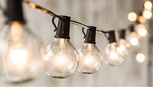 24 FT G50 String Lights with 20 Globe Bulbs- for Indoor/Outdoor Decor, Wedding Lights, Patio Lights, Outdoor String Lights, Globe Lights, Backyard Lights, for Market Cafe Gazebo Porch Party ,Black (String Led G50 Lights)