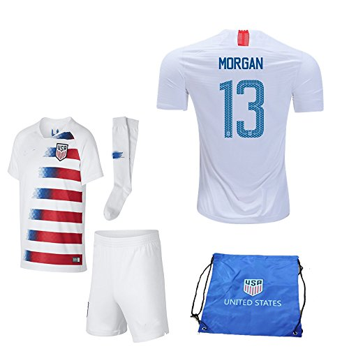 a3d919ee00e USA Soccer Team Christian Pulisic Carli Lloyd Alex Morgan Replica Kid Jersey  Kit : Shirt, Short, Socks, Soccer Bag (C. Morgan White Blue, Size 28 (11-12  Yrs ...