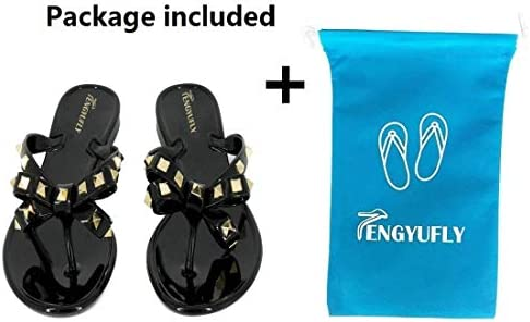 TENGYUFLY Womens Rivets Bowtie Flip Flops Jelly Thong Sandal