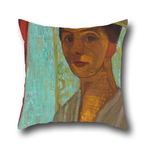 Shag Hat - Oil Painting Paula Modersohn-Becker - Self-portrait With Hat And Veil Cushion Cases ,best For Festival,car,family,bar Seat,kids Girls,couch 18 X 18 Inch / 45 By 45 Cm(each Side)