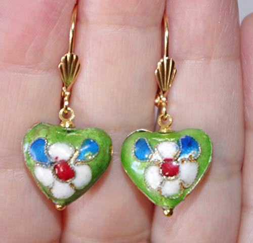 (Cloisonne Gorgeous Flower Heart 14K GF Green Enamel Drop Lever Back Earrings)