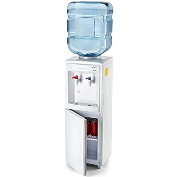Farberware FW29919 Freestanding Hot and Cold Water Cooler Dispenser - Top Loading Freestanding Water Dispenser with Storage Cabinet, White