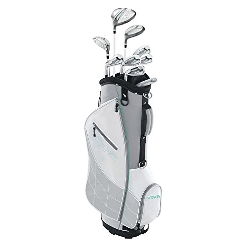 Wilson Ultra Womens Left Handed Complete Golf Club Set with Cart Bag, Gray Mint