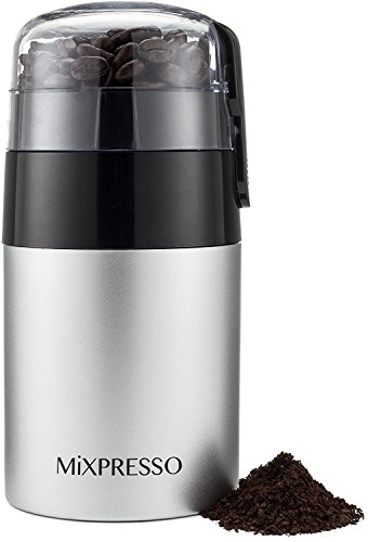 Electric Coffee Grinder – Stainless Steel Blades – by Mixpresso (3 oz, Stainless Steel)