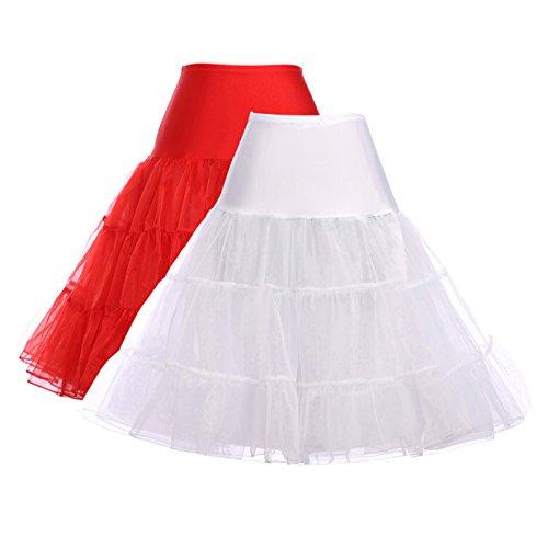 Novelty Victorian Petticoat Half Slip (XL, White + Red, 2Pack) -